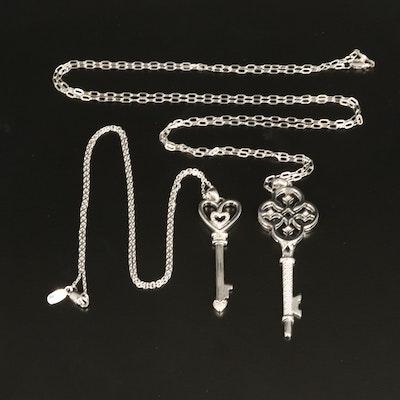 Sterling Key Pendant Necklaces with Diamond