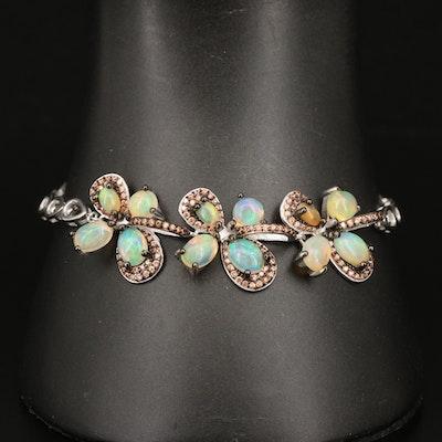Sterling Silver Opal and Sapphire Flower Link Bracelet