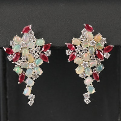 Sterling Cluster Earrings with Opal, Corundum and Cubic Zirconia