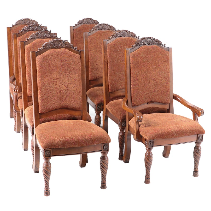 """Eight Ashley Furniture """"North Shore"""" Carved Wood and Upholstered Dining Chairs"""