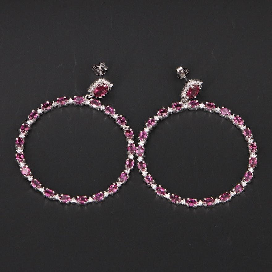 Sterling Silver Garnet and Cubic Zirconia Drop Hoop Earrings