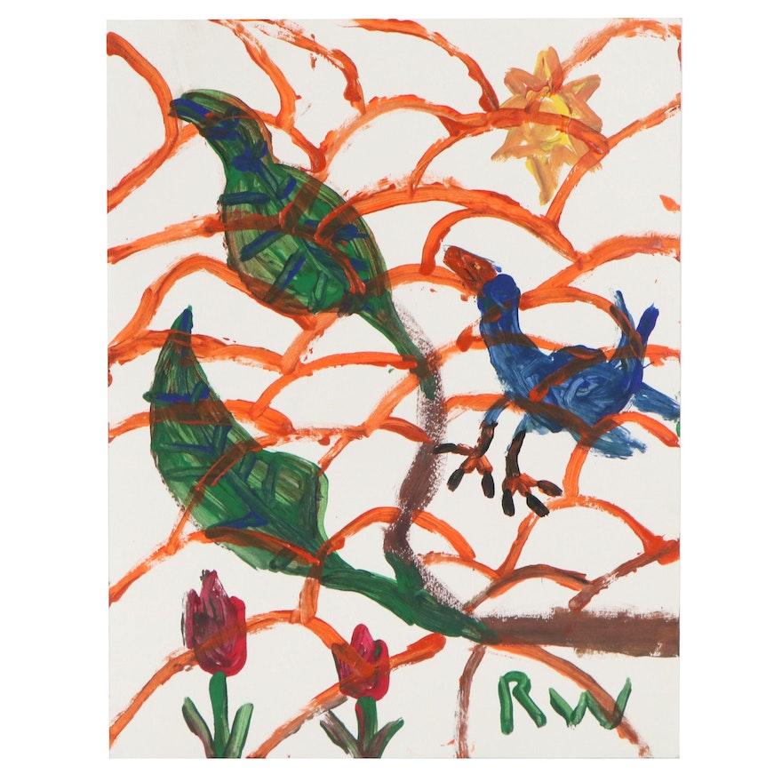 Robert Wright Folk Art Acrylic Painting, Circa 2000