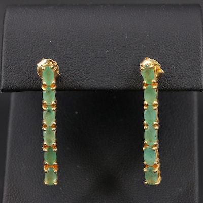 Sterling Emerald Line Earrings