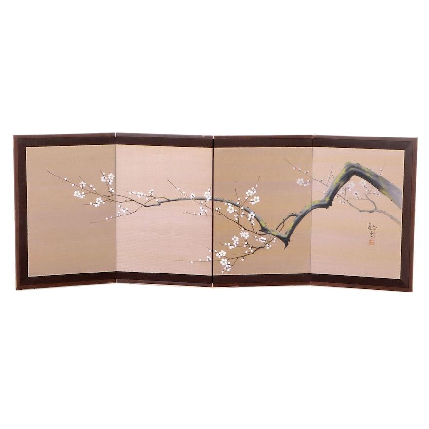 Japanese Plum Blossom Four-Panel  Table Screen