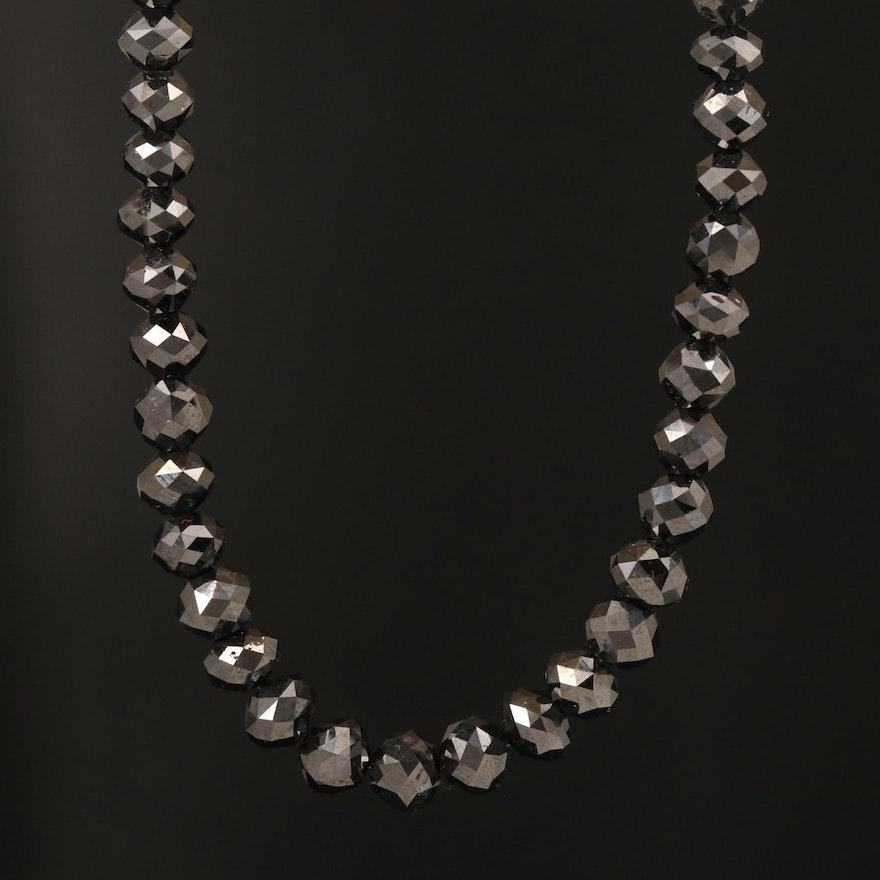 Black Diamond Beaded Necklace with 18K Clasp