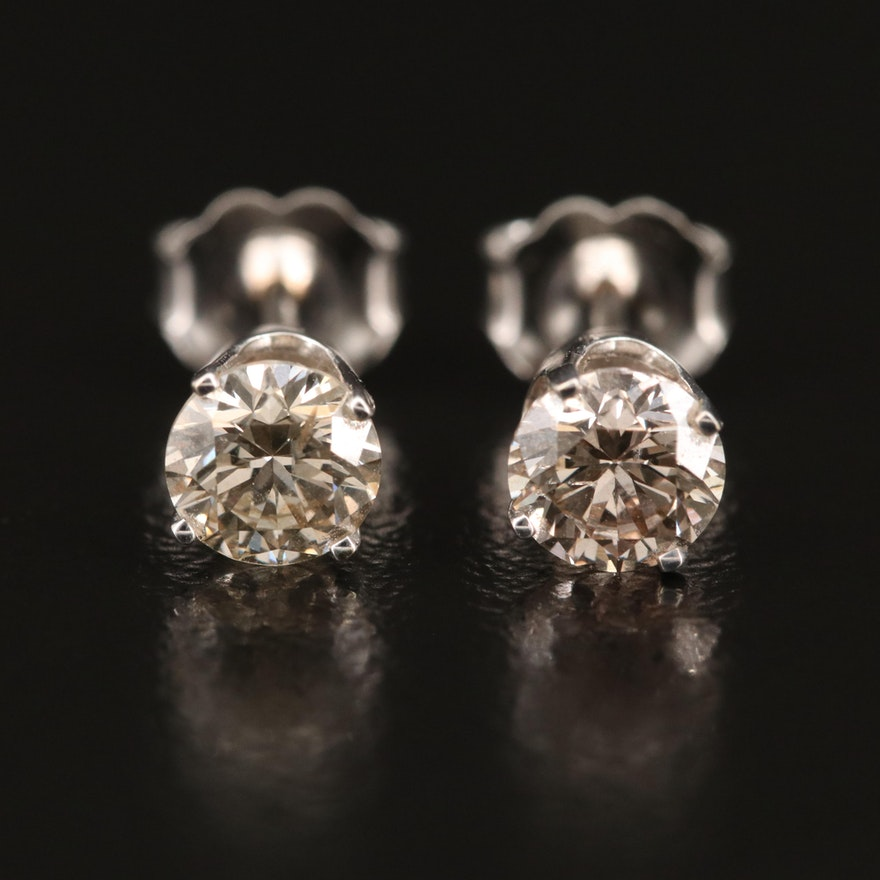 EFFY 14K WHITE GOLD DIAMOND EARRINGS