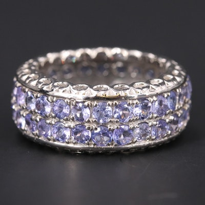 Sterling Tanzanite Double Row Eternity Band