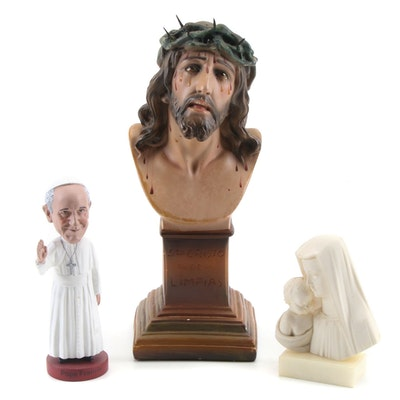 The Christ of Limpias Plaster Statuette with Pope Francis and Madonna and Child