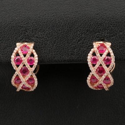 14K ROSE GOLD DIAMOND, NATURAL RUBY EARRINGS
