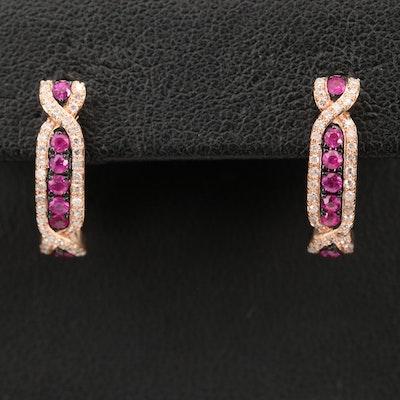 EFFY 14K ROSE GOLD DIAMOND, NATURAL RUBY EARRINGS