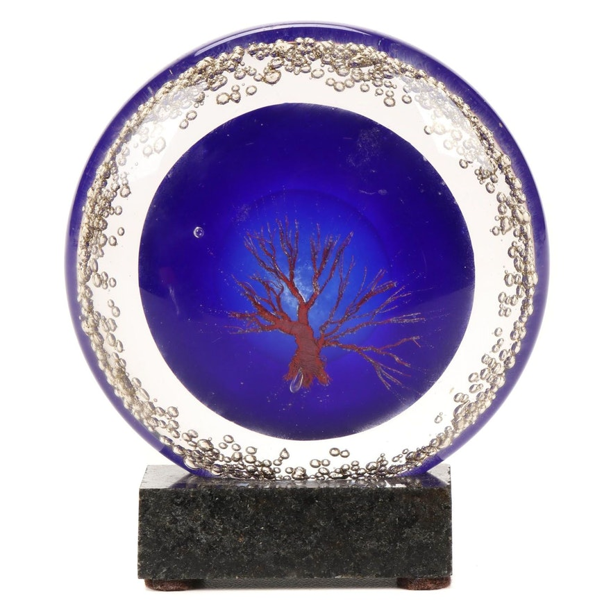 Andy Hudson Copper Inclusion Handblown Art Glass Paperweight