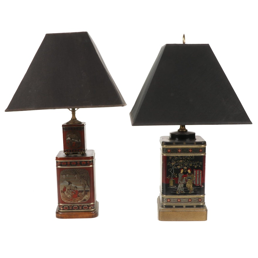 Frederick Cooper and Other Converted Chinese Tea Tin Lamps, Mid/Late 20th C