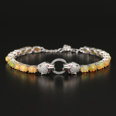Sterling Double Feline Bracelet with Opal, Cubic Zirconia and Ruby