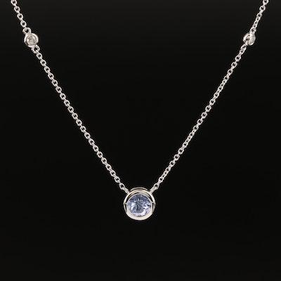 EFFY 14K WHITE GOLD DIAMOND, TANZANITE NECKLACE