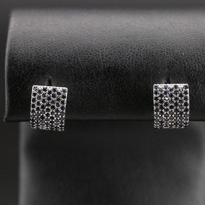 Sterling Sapphire Hinged Huggie Earrings