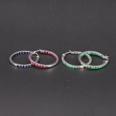 Sterling Ruby, Sapphire and Emerald Inside-Out Hoop Earrings