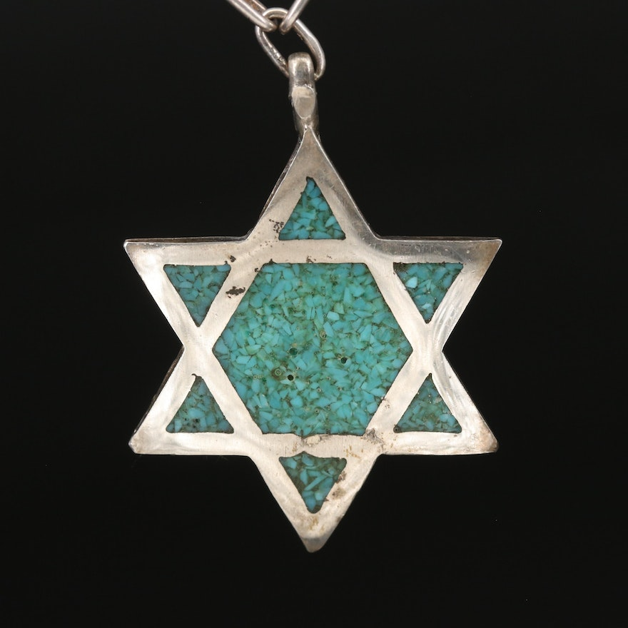 Sterling Star of David Inlay Pendant Necklace