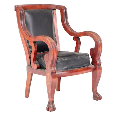 American Empire Revival Mahogany-Stained Birch Armchair, circa 1900