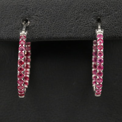 Sterling Silver Ruby Inside-Out Hoop Earrings