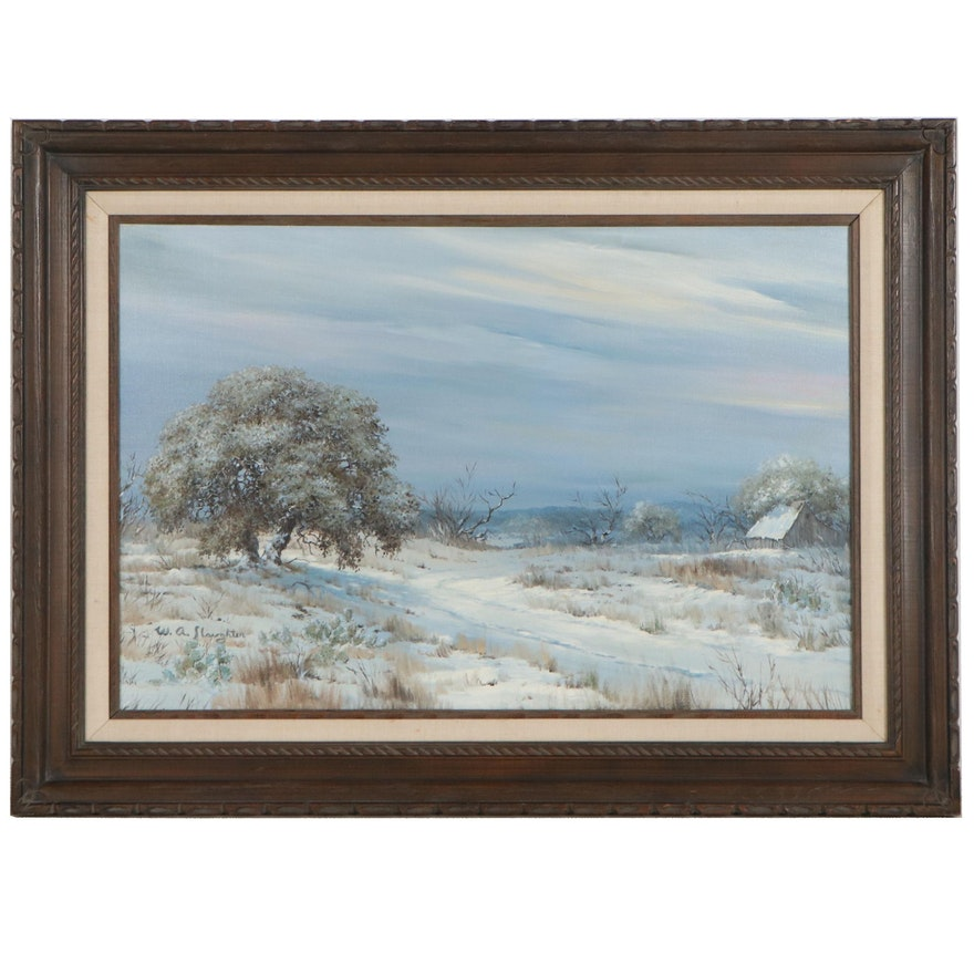William Slaughter Rural Winter Landscape Oil Painting