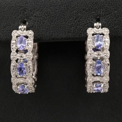 Sterling Silver Tanzanite Hoop Earrings