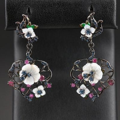 Sterling Mother of Pearl and Gemstone Flower Earrings