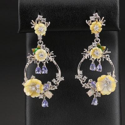 Sterling Tanzanite, Mother of Pearl and Gemstone Flower Earrings