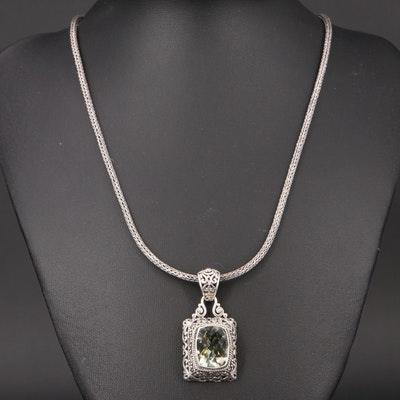 Sarda Sterling Prasiolite Pendant Necklace