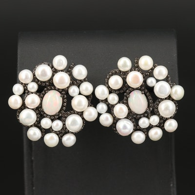 Sterling Opal and Pearl Button Earrings