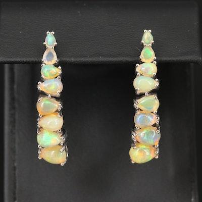 Sterling Opal Graduated Earrings