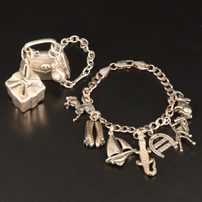 Sterling Charm Bracelets with Purse and Unicorn Charms