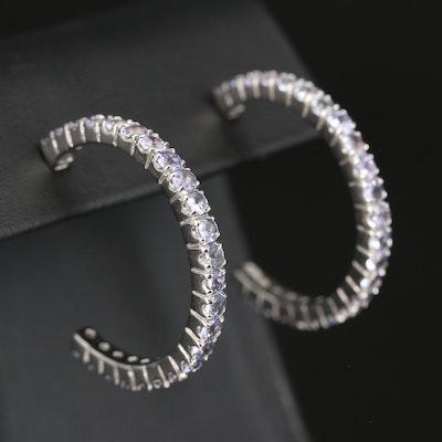 Sterling Tanzanite Hoop Earrings