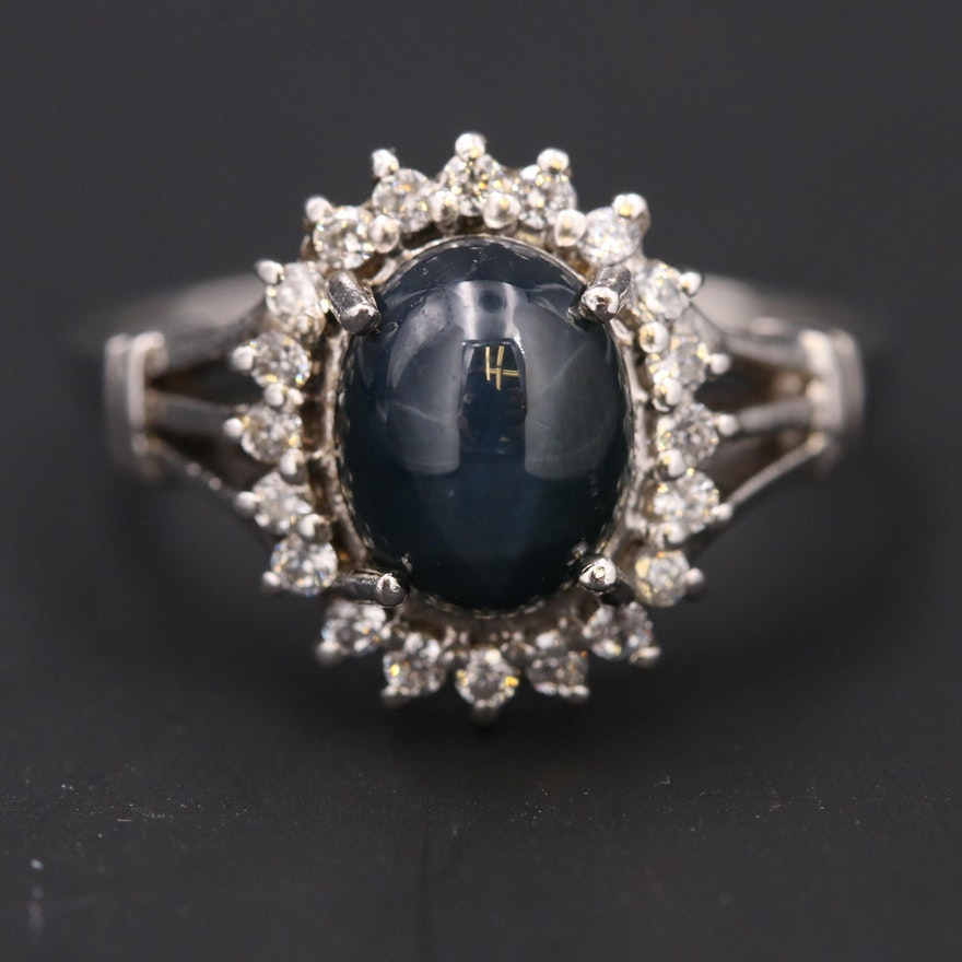 Sterling Star Sapphire and Cubic Zirconia Halo Ring
