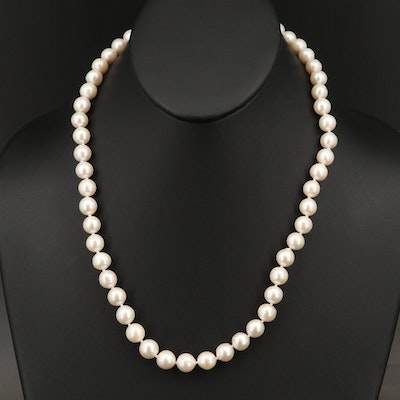 Single Strand Semi-Baroque Pearl Necklace with Sterling Clasp
