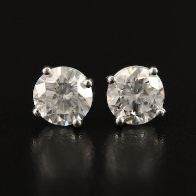 Platinum 1.96 CTW Diamond Stud Earrings with GIA Reports