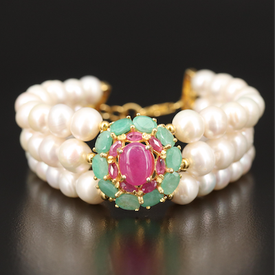 Sterling Multi-Strand Pearl Bracelet with Ruby and Emerald