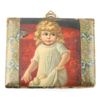 Victorian Celluloid and Brushed Velvet Photograph Album, Late 19th Century