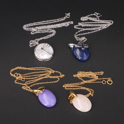 Sterling and Gold-Filled Gemstone Necklaces Featuring Dragonfly and Hearts
