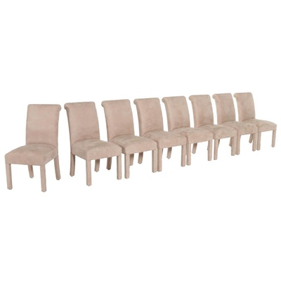 Eight Designmaster Furniture Suede Upholstered Dining Chairs