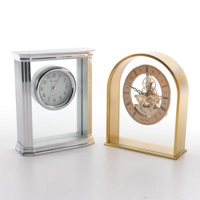 Bey-Berk Gold Tone and Chrome Metal and Acrylic Desk Clocks