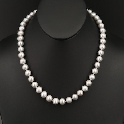 Single Strand Pearl Necklace with Sterling Silver Clasp