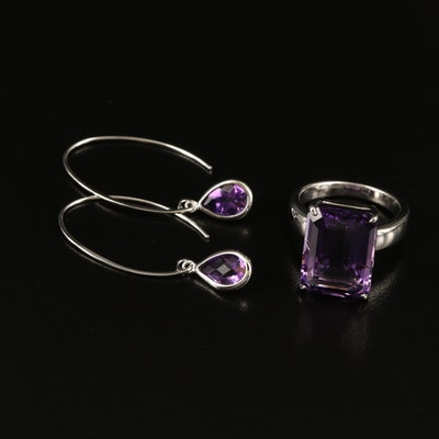 Sterling Amethyst Ring and Earrings