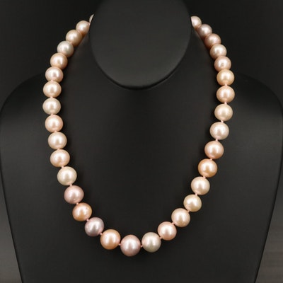 Single Strand Graduated Pearl Necklace with Sterling Clasp