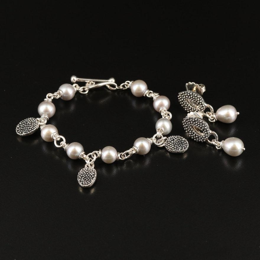Michael Dawkins Sterling Pearl Bracelet and Earring Set
