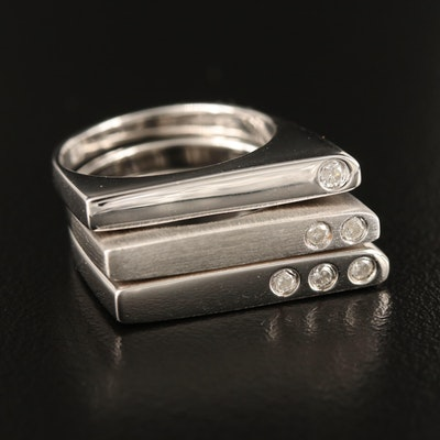 Sterling Diamond Flush Set Stacking Rings