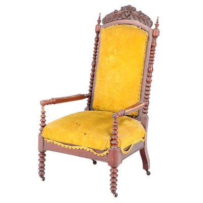 Victorian Cherrywood Parlor Chair, Mid to Late 19th Century