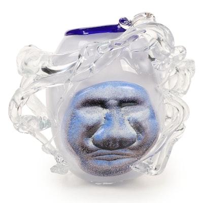 Andy Hudson Handblown Art Glass Face Vase, 2009