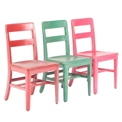 Three Painted Ladderback Side Chairs, 20th Century