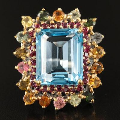 Sterling Silver Topaz, Tourmaline and Rhodolite Garnet Ring