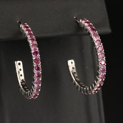 Sterling Silver Rhodolite Garnet Half Hoop Earrings